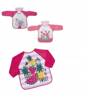 Set of 3 Girls Baby Long Sleeve Bibs Bib Toddler Tropical Fruits Bunny and Kitten