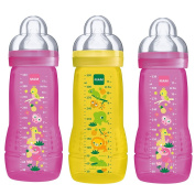 MAM Baby Bottles Easy Active Girl Baby Bottle Set/3 x Baby Bottle 330 ml with Suction Teat, Size 3