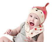 Wicemoon Red Baby Boys Girls Soft Cotton Cap Hat with Bib Set
