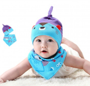 Wicemoon Blue Bandana Bibs Comes with a Cute Cotton Baby Hat for Newborn Baby