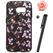 Samsung Galaxy S7 Case,Samsung Galaxy S7 Cover,TOYYM Ultra Slim [Scratch-Proof] Elegant Floral Pattern Design Soft Flexible TPU Silicone Bumper Case,Lightweight Backcover Gel Protective Black Case Cover For Samsung Galaxy S7,Flower#6