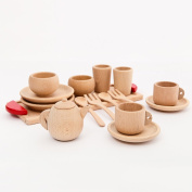 Coskiss Wood Beech Baby Cutlery Cup Tray Baby Gift Set Portable Wooden Montessori Toy Inspired Toddler Pretend Play Kitchen Beads