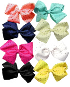 Shimmers - 4pcs Diamante Big Hair Bows Boutique Girls Alligator Clip Grosgrain Ribbon Headband - 15cm