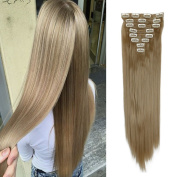 2-5 Days Fast Delilvery 70cm Long Straight Full Head Clip in Hair Extensions Synthetic Hairpiece for Women Beauty Ash Blonde