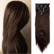 2-5 Days Fast Delilvery 70cm Long Straight Full Head Clip in Hair Extensions Synthetic Hairpiece for Women Beauty Medium Brown