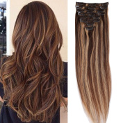 S-noilite 41cm 46cm 50cm 60cm 8PCS Clip In Hair Extensions Human Hair 100% Remy Real Full Head Human Hair Set Straight for Women Beauty
