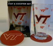 NCAA Officially Licenced Virginia Tech Hokies Pint and Coaster Set