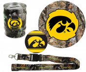 "Iowa Hawkeyes Hunter Pack Set of Large Round RealTree Camo Magnet, 4"" Decal, RealTree Camo Lanyard, RealTree Camo Tin Money Bank"