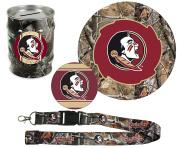 "Florida State Seminoles Hunter Pack Set of Large Round RealTree Camo Magnet, 4"" Decal, RealTree Camo Lanyard, RealTree Camo Tin Money Bank"