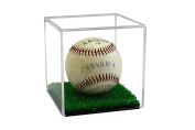 Deluxe Acrylic Full Size Baseball and Tennis Ball Display Case with Turf Floor with UV Protection