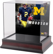 Charles Woodson Michigan Wolverines Deluxe Mahogany Mini Helmet Case - Fanatics Authentic Certified - College Mini Helmet Free Standing Display Cases