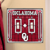 Oklahoma Sooners Art Glass Double Light Switch Cover