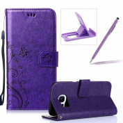 Wallet Leather Case for Samsung Galaxy S7 Edge,Book Style Pu Leather Case for Samsung Galaxy S7 Edge,Herzzer Retro Purple Butterfly Flower Pattern Flip Fold Pouch Case with Credit Card ID Cash Holders Stand Function Magnetic Closure Case Cover for Sams ..