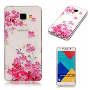 For Galaxy A5 2017 TPU Case,Vandot Anti-Scratch Ultra Lightweight Crystal Soft Gel Cover, Transparent Silicone Shock Absorption Practical Protective Shell Skin Bumper for Samsung Galaxy A5 A520F - Pink Flowers Floral Blossoms