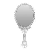 TOOGOO(R) Ladies Vintage Repousse Floral Hand Held Oval Mirror Makeup Dresser