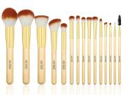TheFellie 15pcs Makeup Brushes Woody Makeup Brush Set with Case