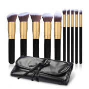 TASIPA 10Pcs Makeup Brush Sets, Makeup Beauty Brushes Woods Set for Makeup, Make Up Brushes Set Kit with a Portable Travel Pouch