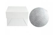 Doric 20cm Round Cake Board/Drum & 20cm Square Box