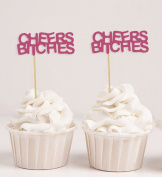 Darling Souvenir, Cheers Bitches Cupcake Toppers, Party Dessert Decorations - Pack Of 20