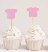 Darling Souvenir, Baby T-Shirt Its a Girl Cupcake Toppers, Baby Shower Dessert Decorations - Pack Of 20