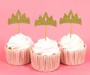 Darling Souvenir, Crown Shape Cupcake Toppers, Tiara - Girls Birthday Party Dessert Decorations - Pack Of 20