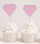 Darling Souvenir, Its a Girl Pink Diamond Glitter Cupcake Toppers, Baby Shower Decoration - Pack Of 20