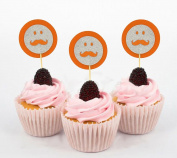 Darling Souvenir, Glitter Moustache Emoji Smiley shape Cupcake Toppers, Itâ€TMs a Boy Baby Shower Party Dessert Decorations - Pack Of 20