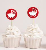 Darling Souvenir, Baby Pram Baby Shower Cupcake Toppers, Dessert Decorations - Pack Of 20