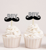 Darling Souvenir, Baby Shower Itâ€TMs a Boy Moustache Cupcake Toppers, Gender Reveal Party Dessert Decorations - Pack Of 20