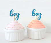 Darling Souvenir, Baby Shower Boy Cupcake Toppers, Gender Reveal Party Dessert Decorations - Pack Of 20