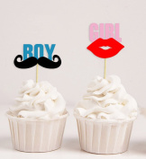 Darling Souvenir, Baby Shower Itâ€TMs Twin (Boy & Girl) Cupcake Toppers, Gender Reveal Party Dessert Decorations - Pack Of 20