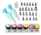 Icing Piping Bag 26 Piece Set Stainless Steel Icing Nozzle Flower Nail Tube Nozzles Icing Cake Cupcake Decoration