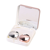 ROSENICE Contact Lens Case Mini Travel Simple Contact Case Container HolderLight Pink)
