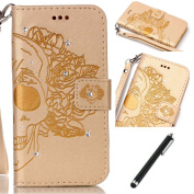 Huawei P9 Lite Bling Case,Flip Case for Huawei P9 Lite,Wallet Case for Huawei P9 Lite,Beddouuk Luxury Creative Pressed Pattern Flip PU Leather Wallet Glitter Diamond Case with Credit Card Slots Stand Function Magnetic Closure Wrist Strap for Huawei P9 ..