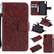 NEXCURIO Huawei Honour 7i / Shot X Leather Case [Embossed Flower] Shock Proof Stand Leather Wallet Case Flip Cover with Card Slots for Huawei Honour 7i