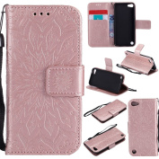NEXCURIO iPod Touch 6 5 Leather Case [Embossed Flower] [Free Tempered Glass Screen Protector] Shockproof Leather Wallet Case Book Style Flip Cover with Folding Stand for Apple iPod Touch6 / Touch5