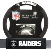 Oakland Raiders NFL Steering Wheel Cover and Seatbelt Pad Auto Deluxe Kit