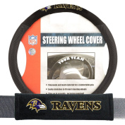 Baltimore Ravens NFL Steering Wheel Cover and Seatbelt Pad Auto Deluxe Kit