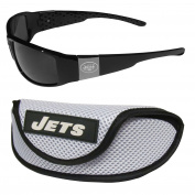 NFL New York Jets Chrome Wrap Sunglasses & Sports Case