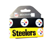Aminco International NFL-BC-207-12 Silicone Rubber Bracelet - Pittsburgh Steelers