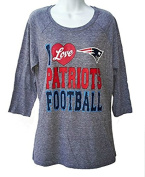 I Love New England Patriots Football Women's Size X-Large XL 3/4 Heathered Charcoal Grey Shirt- Ladies