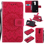 NEXCURIO LG Spirit H440N Leather Case [Embossed Flower] Scratch Resistant Book Style Folio Cover Wallet Leather Case Holster for LG Spirit