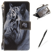 Samsung Galaxy J510 Case,MAGQI Samsung Galaxy J510 Leather Case,Wild Animals Series Pattern Premium Slim Fit Flip PU Wallet Cover with Colourful Detachable Hand Strap [Stand Function][Cash and Card Slots] Magnetic Folio Notebook style Skin Cover Full B ..