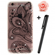 iPhone 6S Plus Case,iPhone 6 Plus Cover,3D Bling Glitter Soft Case For iPhone 6 Plus/6S Plus 14cm ,TOYYM Ultra Slim Clear Transparent Crystal Beautiful Pattern Case Bumper TPU Silicone Back Case Cover For iPhone 6S Plus/6 Plus