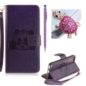 SKYXD iPod Touch 6 Case,iPod Touch 5 Flip Leather Case,Vintage Skin Style Embossed Cute Panda Pattern [With Hand Wrist Strap] Folio PU Leather Wallet Case Cover for iPod Touch 6/iPod Touch 5 + Stylus + Dust Plug,Purple