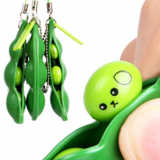 Kingko® Fun Squeeze-a-Bean Soybean Pendants Anti Stressball Stress Relieving Keychain Mobile Chain Fidget Toys