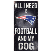 New England Patriots 15cm x 30cm All I Need is Football and My Dog Wood Sign