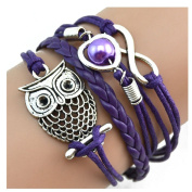 Doinshop New Infinity Chain Cuff Jewellery Antique Leather Charm Bracelet