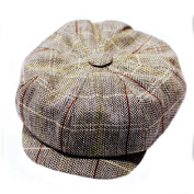 VANKER 1Pc Brown Attractive Vintage England Style Striped Octagonal Cap Hat