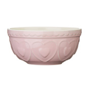 Kitchen Mixing Bowl Pastel Pink Stoneware Heart Detail Cookware Kitchen Bowl